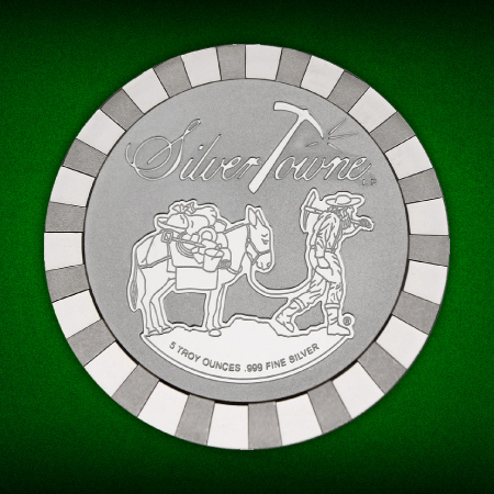 SilverTowne Trademark Prospector Stackables 5 Ounce Silver Rounds