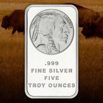 5 Ounce Buffalo Replica Silver Bars