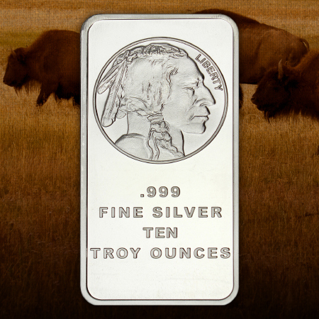 10 Ounce Buffalo Replica Silver Bars