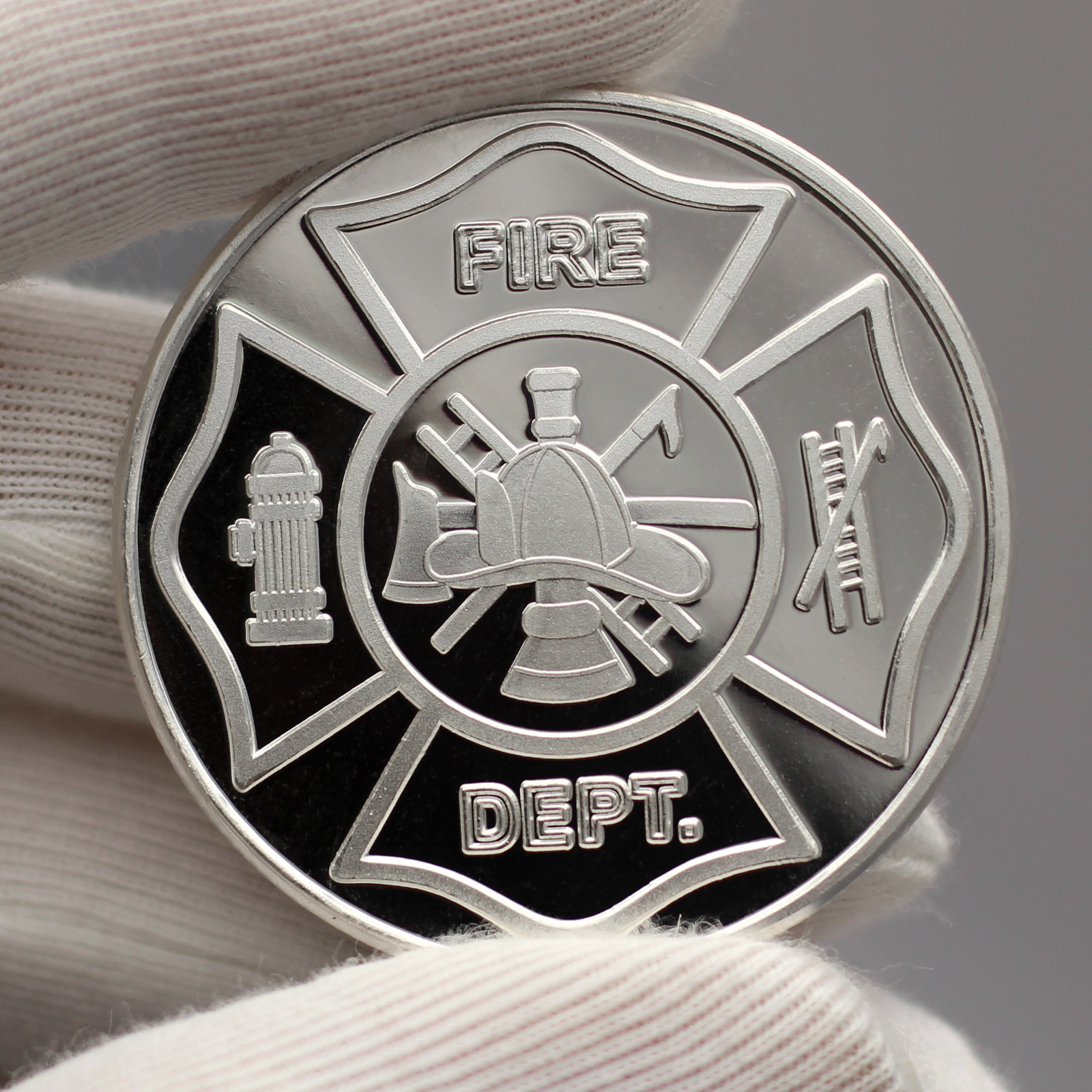 Fire Department Firefighter 1oz .999 Silver Round by SilverTowne in Gift Box
