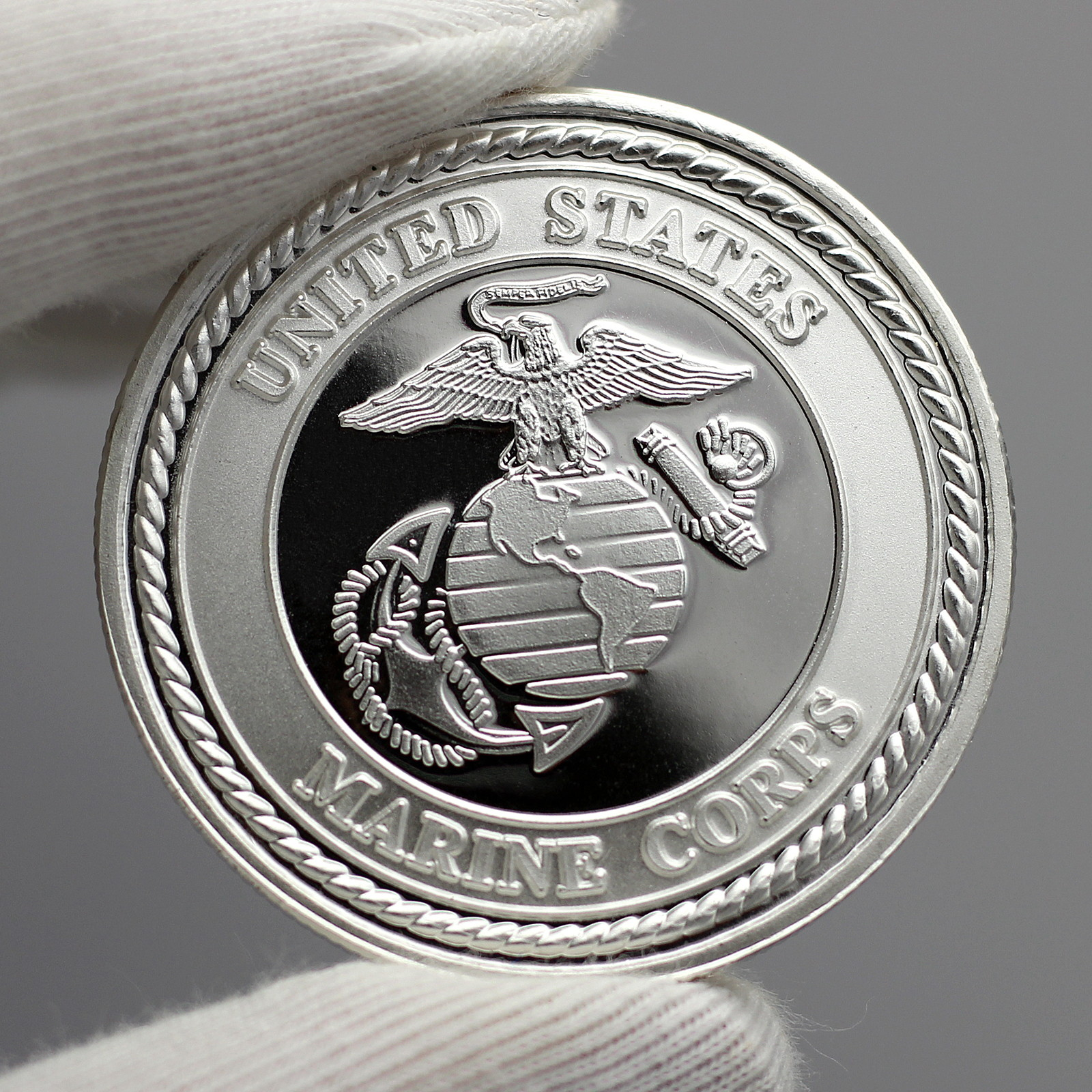 US Marine Corps 1oz .999 Fine Silver Round Pledge box