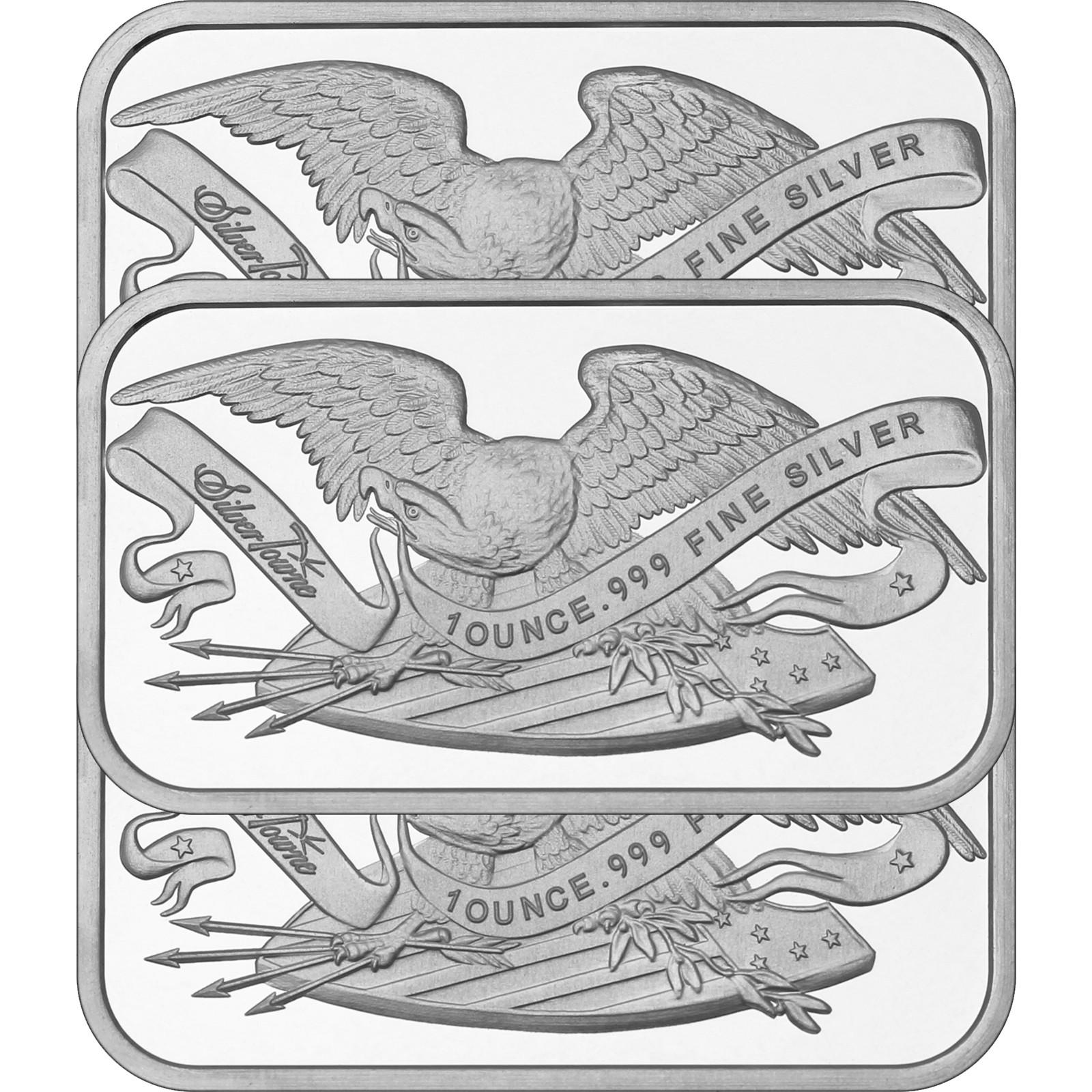 Retro SilverTowne Eagle /& Shield 1oz .999 Fine Silver Bars LOT of 10