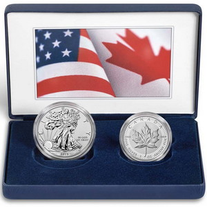 2019 Pride of Two Nations Set Enhanced Reverse Proof SAE & Modified Proof Silver Maple Coins in OGP
