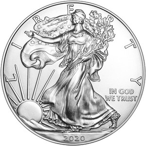 2020 Silver American Eagle BU Coin in Flip