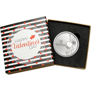 Be My Valentine Hearts 1oz .999 Silver Medallion Dated 2020 in Gift Box