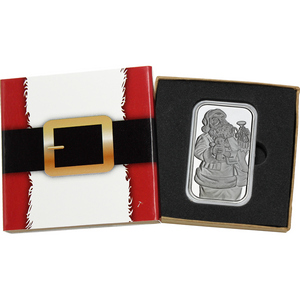 2018 Santa Claus Waving with Woodland Animals 1oz .999 Silver Bar