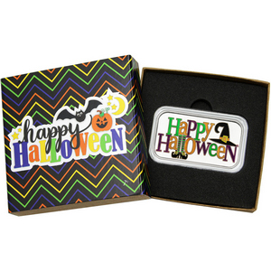Happy Halloween Witch 1oz .999 Silver Bar Enameled