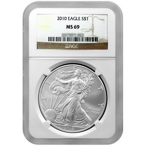 2010 Silver American Eagle MS69 NGC Brown Label