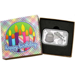 Happy Birthday Cake 1oz .999 Silver Bar Dated 2019