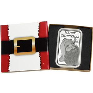 2018 Merry Christmas Santa Up On the Chimney 5oz .999 Silver Medallion