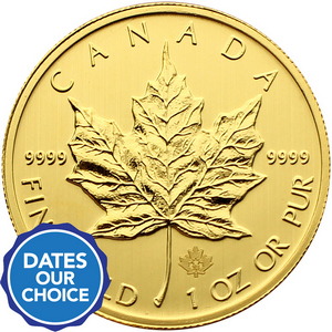 Canada Gold Maple Leaf 1oz 9999 Fine Gold BU Coin Date Our Choice - Secondary Market