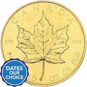 Canada Gold Maple Leaf 1oz 999 Fine Gold BU Coin Date Our Choice - Secondary Market