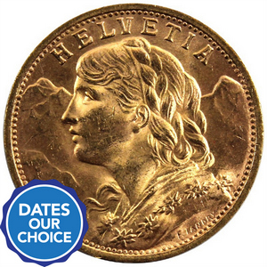 Gold 20 Franc Date and Design Our Choice