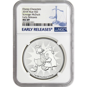 2018 Niue Silver Disney Scrooge McDuck 1oz Coin MS69 ER NGC Blue Label