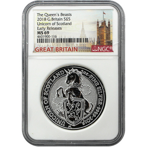 2018 Great Britain Silver Queen's Beasts Unicorn 2oz MS69 ER NGC