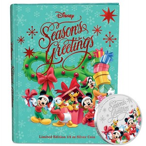 2018 Niue Silver Disney Mickey & Friends Season's Greetings Colorized Proof 1/2oz Coin in Ornament Packaging