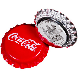 2018 Fiji Silver Coca-Cola® Bottle Cap Shaped 6g Silver Colorized Proof Coin in OGP