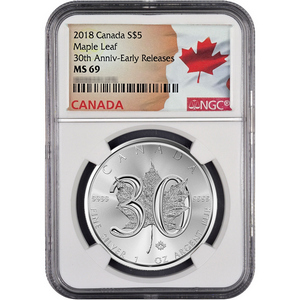 2018 Canada Silver Maple Leaf 30th Anniversary 1oz Coin MS69 ER NGC Flag Label