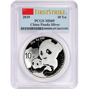 2019 China Silver Panda 30g MS69 FS PCGS Flag Label