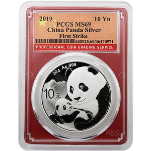 2019 China Silver Panda 30g MS69 FS PCGS Red Frame Flag Label