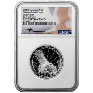 2019 P Australia Silver Wedge-Tailed Eagle 1oz High Relief PF70 UC First Release NGC Mercanti Signature Flag Label