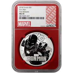 2018 Tuvalu Silver Marvel Iron Man 1oz MS70 First Releases NGC Red Core Marvel Logo Label