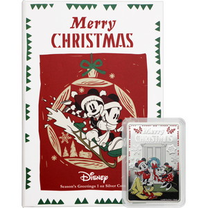 2019 Niue Silver Disney Mickey & Friends Merry Christmas Colorized Proof 1oz  Bar Coin