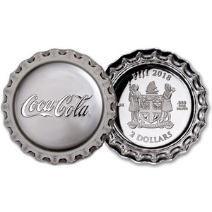 2018 Fiji Silver Coca-Cola® Bottle Cap Shaped 1oz Silver Proof Coin in OGP