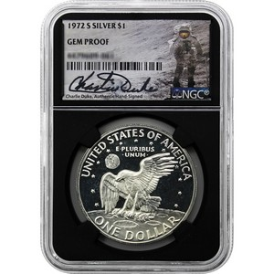 1972 S Eisenhower Silver-Clad Dollar Gem Proof NGC Black Core Charlie Duke Signature Label