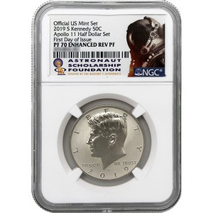 2019 S Kennedy Half Dollar - from the 50th Ann Apollo 11 Set - Enhanced Reverse PF70 FDI NGC Astronaut Scholarship Foundation Label
