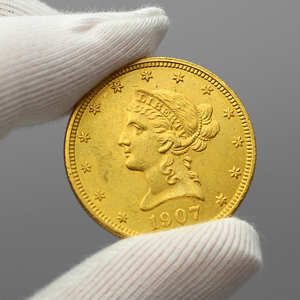 1907 $10 Gold Liberty Head Coin AU in Flip