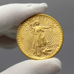 1908 $20 Gold Saint-Gaudens No-Motto Coin AU in Flip