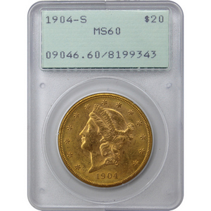 1904 S $20 Gold Liberty Head Coin Type III MS60 PCGS First Generation Holder