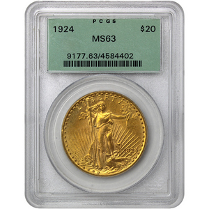 1924 $20 Gold Saint-Gaudens Gold Coin MS63 PCGS