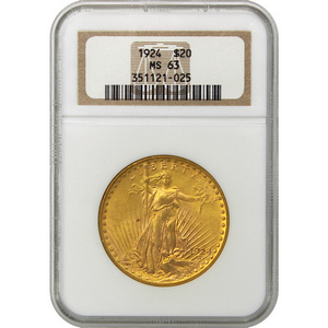1924 $20 Gold Saint-Gaudens Gold Coin MS63 NGC