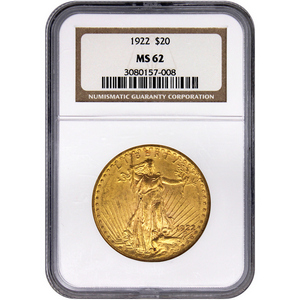 1922 $20 Gold Saint-Gaudens Gold Coin MS62 NGC