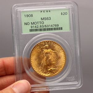 1908 $20 Gold Saint-Gaudens No-Motto Coin MS63 PCGS