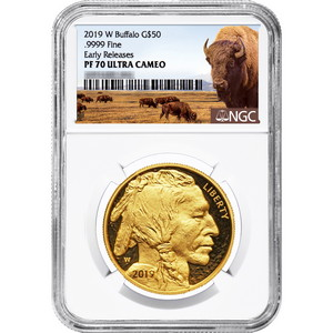2019 W Gold Buffalo 1oz PF70 UC ER NGC Buffalo Label