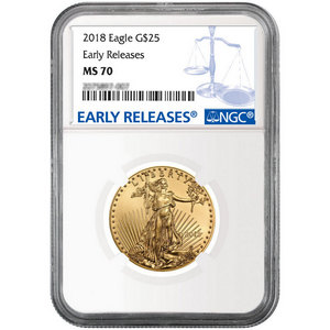 2018 Gold American Eagle 1/2oz ($25) Gold Coin MS70 ER NGC Blue Label