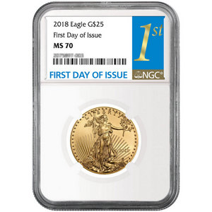 2018 Gold American Eagle 1/2oz ($25) Gold Coin MS70 NGC First Day Issue Label