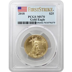 2018 Gold American Eagle 1/2oz ($25) Gold Coin MS70 FS PCGS Flag Label