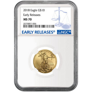 2018 Gold American Eagle 1/4oz ($10) Gold Coin MS70 ER NGC Blue Label