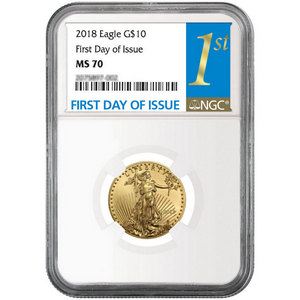 2018 Gold American Eagle 1/4oz ($10) Gold Coin MS70 NGC First Day Issue Label