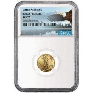 2018 Gold American Eagle 1/10oz ($5) Gold Coin MS70 ER NGC Bald Eagle Label