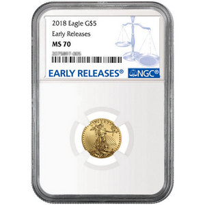 2018 Gold American Eagle 1/10oz ($5) Gold Coin MS70 ER NGC Blue Label