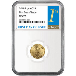2018 Gold American Eagle 1/10oz ($5) Gold Coin MS70 NGC First Day Issue Label