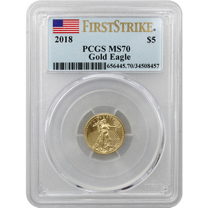 2018 Gold American Eagle 1/10oz ($5) Gold Coin MS70 FS PCGS Flag Label
