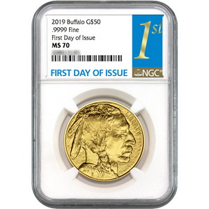 2019 Gold Buffalo 1oz ($50) .9999 Gold Coin MS70 NGC First Day Issue Label