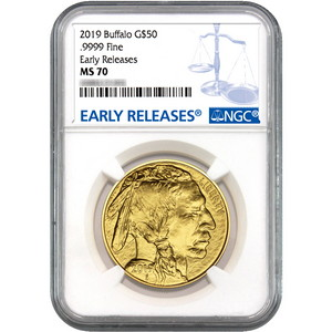 2019 Gold Buffalo 1oz ($50) .9999 Gold Coin MS70 ER NGC Blue Label