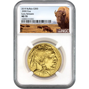 2019 Gold Buffalo 1oz ($50) .9999 Gold Coin MS70 ER NGC Buffalo Label